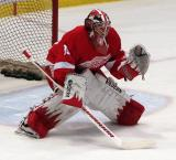 Jimmy Howard squares to face a shot during pre-game warmups.