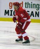 Nicklas Lidstrom looks to cut off a crossing pass during a preseason game.