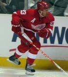 Johan Franzen skates along the boards.