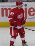 Joey Martin stands inside the blue line during the Red & White Game.