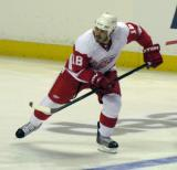 Ian White skates across the blue line during the Red & White Game.