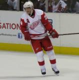 Pavel Datsyuk skates during a stoppage in the Red & White Game.