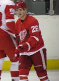 Jiri Hudler skates during a stoppage in the Red & White Game.