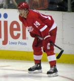 Gustav Nyquist lines up for a faceoff during the Red & White Game.