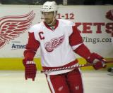 Nicklas Lidstrom skates during a stoppage in the Red & White Game.