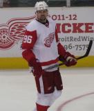 Tomas Holmstrom sneers at something during a stoppage in the Red & White Game.