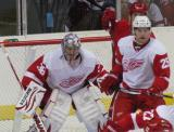 Brian Lashoff fronts Todd Bertuzzi while Jordan Pearce follows the puck during the Red & White Game.