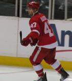 Brent Raedeke skates along the boards during the Red & White Game.