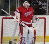 Thomas McCollum relaxes in goal before the start of the third period of the Red & White Game.