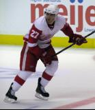 Travis Ehrhardt skates across the red line during the Red & White Game.