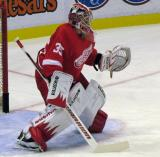 Jimmy Howard looks for the next shot on goal during pre-game warmups before a preseason game.
