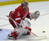 Jimmy Howard squares to the next shooter during pre-game warmups before a preseason game.
