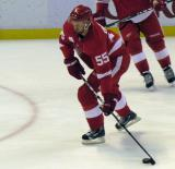Niklas Kronwall prepares to fire a shot during pre-game warmups before a preseason game.