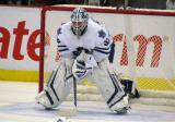 Toronto's Jonas Gustavsson gets set in his crease to start a preseason game.