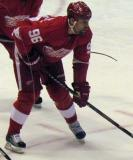 Tomas Holmstrom lines up for a faceoff in a preseason game.