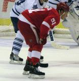 Valtteri Filppula lines up for a faceoff in a preseason game.