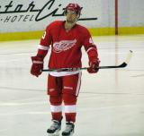 Darren Helm skates during a stoppage in a preseason game.