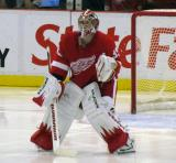 Jimmy Howard gets set in goal at the start of the second period of a preseason game.