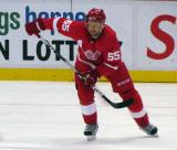 Niklas Kronwall skates out of the Detroit zone during a preseason game.