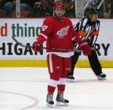Landon Ferraro stands around during a stop in play in a preseason game.