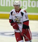 Gustav Nyquist skates during pre-game warmups before a Grand Rapids Griffins game.