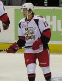 Mitchell Callahan skates during pre-game warmups before a Grand Rapids Griffins game.