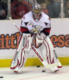 Jordan Pearce waits for his turn in net during pre-game warmups before a Grand Rapids Griffins game.