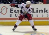 Willie Coetzee winds up for a shot from the point during a Grand Rapids Griffins game.