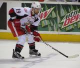 Greg Amadio lines up for a faceoff during a Grand Rapids Griffins game.