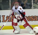Joey MacDonald comes out of the net to play the puck during a Grand Rapids Griffins game.