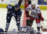 Gustav Nyquist lines up against Toronto's Jerry D'Amigo for a faceoff during a Grand Rapids Griffins game.