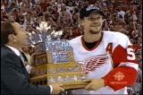 Nicklas Lidstrom is presented the Conn Smythe Trophy as most valuable player of the 2002 Stanley Cup Playoffs.
