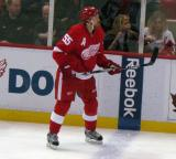 Niklas Kronwall stands up along the boards at the blue line.