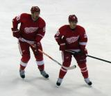 Johan Franzen and Jiri Hudler wait for the puck to come off the boards.