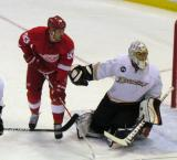 Johan Franzen gets set up in front of Anaheim goaltender Jonas Hiller.