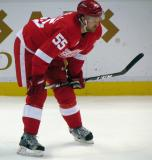 Niklas Kronwall lines up for a faceoff.