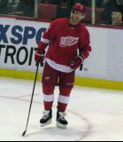 Dan Cleary skates through a faceoff circle during a stoppage in play.