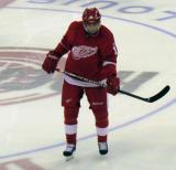 Pavel Datsyuk skates at center ice during a stoppage in play.