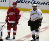 Danny Cleary lines up for a faceoff next to Anaheim's Teemu Selanne.