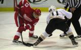 Pavel Datsyuk takes a faceoff against Anaheim's Saku Koivu.
