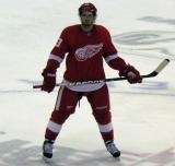Darren Helm skates through center ice during a stoppage in play.