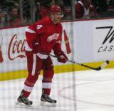 Jakub Kindl stays open on the far side of the ice.