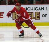 Nicklas Lidstrom skates through the Detroit zone.