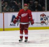 Jakub Kindl stands in the defensive zone during a stoppage in play.
