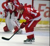 Pavel Datsyuk lines up at left wing for a defensive zone faceoff.