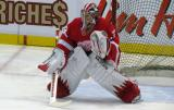 Jimmy Howard squares to a shooter during pre-game warmups.