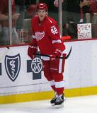 Cory Emmerton skates along the boards during pre-game warmups.