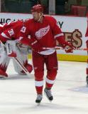 Johan Franzen skates through the slot during pre-game warmups.