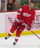 Tomas Holmstrom skates along the boards during pre-game warmups.