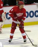 Justin Abdelkader carries a puck through the neutral zone during pre-game warmups.